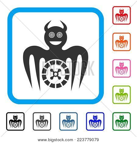 Roulette Mad Spectre Devil icon. Flat gray iconic symbol inside a blue rounded squared frame. Black, gray, green, blue, red, pink color versions of roulette mad spectre devil vector.