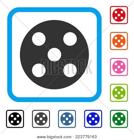 Round Dice icon. Flat grey pictogram symbol inside a blue rounded frame. Black, gray, green, blue, red, orange color versions of round dice vector. Designed for web and app UI.