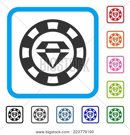 Ruby Casino Chip icon. Flat gray iconic symbol in a blue rounded frame. Black, grey, green, blue, red, pink color additional versions of ruby casino chip vector.