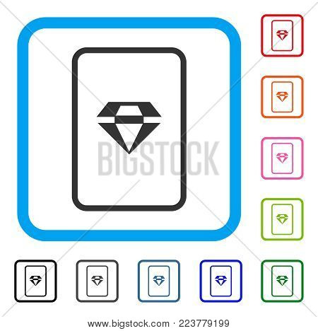 Ruby Gambling Card icon. Flat grey iconic symbol in a blue rounded squared frame. Black, grey, green, blue, red, pink color versions of ruby gambling card vector. Designed for web and app interfaces.