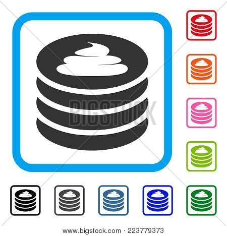 Shit Coin Stack icon. Flat grey iconic symbol in a blue rounded rectangle. Black, grey, green, blue, red, orange color variants of shit coin stack vector. Designed for web and application UI.