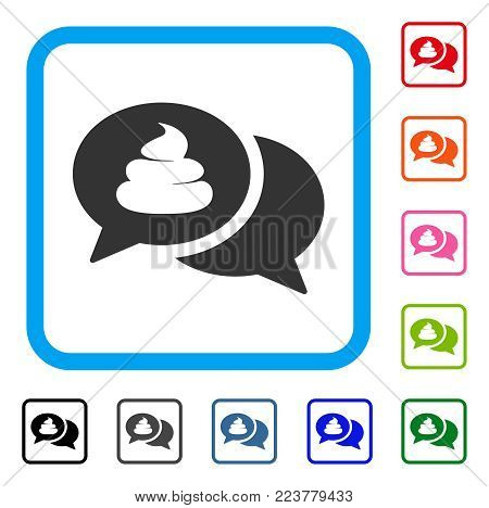 Shit Forum icon. Flat grey pictogram symbol inside a blue rounded square. Black, gray, green, blue, red, pink color versions of shit forum vector. Designed for web and application UI.