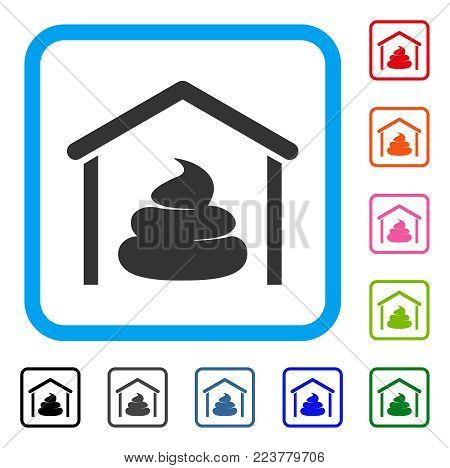 Shit Storage Hangar icon. Flat grey iconic symbol in a blue rounded frame. Black, gray, green, blue, red, pink color additional versions of shit storage hangar vector.