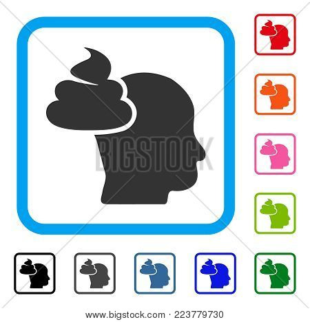 Shit Thinking Head icon. Flat gray pictogram symbol in a blue rounded rectangle. Black, grey, green, blue, red, pink color additional versions of shit thinking head vector.