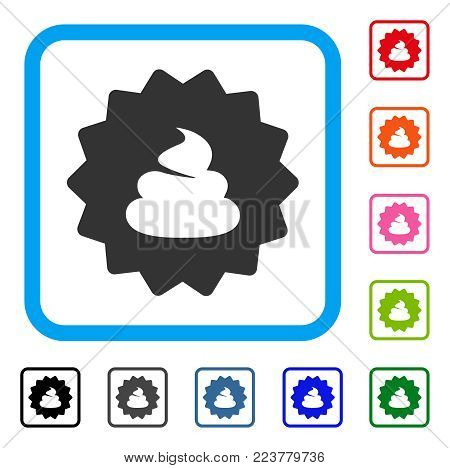 Shit Token icon. Flat gray pictogram symbol in a blue rounded squared frame. Black, grey, green, blue, red, pink color variants of shit token vector. Designed for web and application user interface.