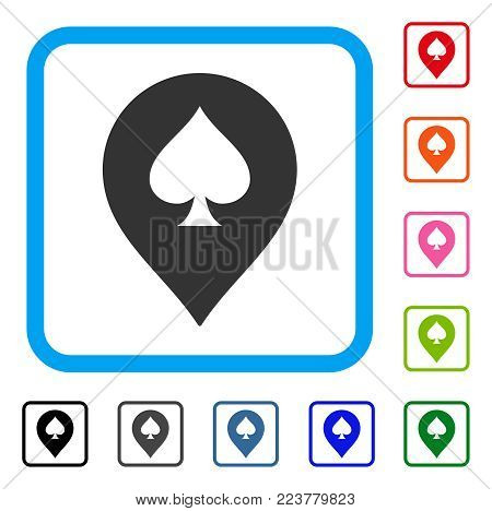 Spade Casino Marker icon. Flat gray pictogram symbol in a blue rounded squared frame. Black, grey, green, blue, red, pink color versions of spade casino marker vector.