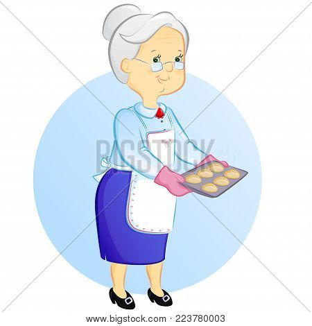grandmother holding a tray with freshly baked pies
