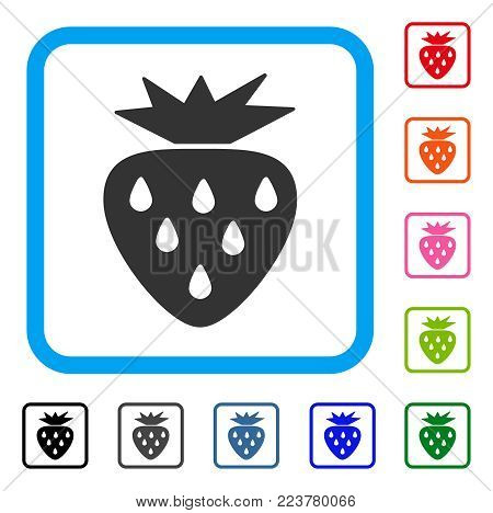 Strawberry icon. Flat grey iconic symbol in a blue rounded squared frame. Black, gray, green, blue, red, orange color variants of strawberry vector. Designed for web and software UI.