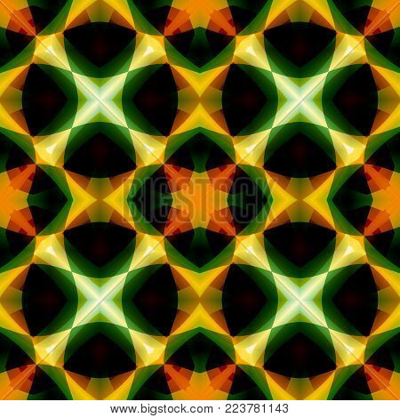 Vivid green orange abstract texture. Seamless tile. Detailed background illustration. Home decor fabric design sample. Tileable motif for pillows, cushions, tablecloths, drapes. Textile print pattern.