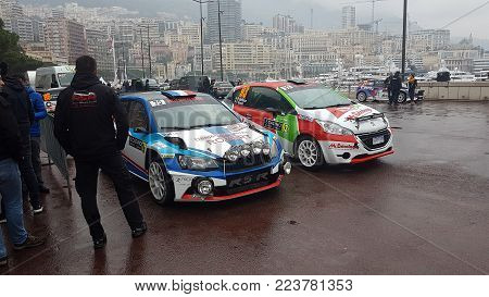 Monte-Carlo, Monaco, January 24, 2018: Skoda Fabia R5 And Peugeot 208 Rally Cars (Front View) Parked on the Port Hercule of Monaco. Rallye Monte-Carlo 2018, French Riviera