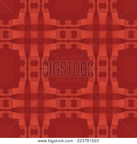 Red abstract texture. Simple background illustration. Textile print pattern. Square seamless tile. Home decor fabric design sample. Tileable motif for pillows, cushions, tablecloths, drapes, paper