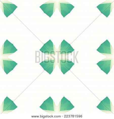 Green white abstract clover texture. Simple background illustration. Minimalistic textile print pattern. Home decor fabric design sample. Cute seamless tile. Tileable motif for cushions, bed covers