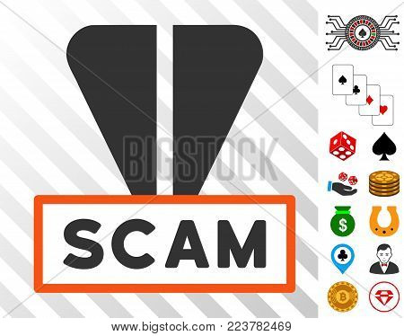 Ton Scam Label icon with bonus gambling graphic icons. Vector illustration style is flat iconic symbols. Designed for gambling software.