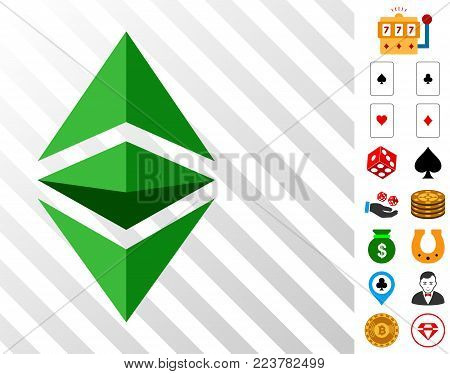 Ethereum Classic icon with bonus gambling icons. Vector illustration style is flat iconic symbols. Designed for gamble apps.