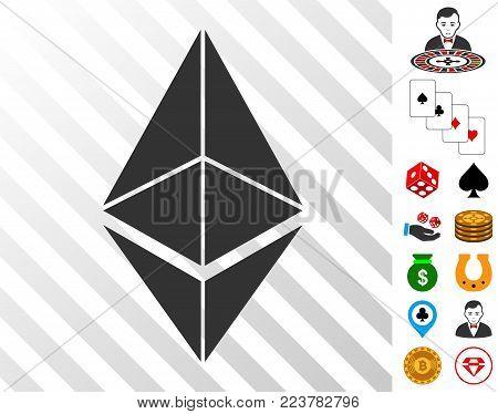 Ethereum icon with bonus gamble symbols. Vector illustration style is flat iconic symbols. Designed for gamble ui.