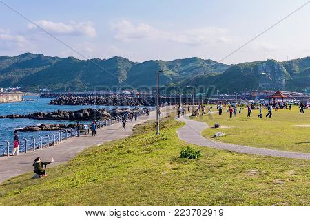 KEELUNG, TAIWAN - APRIL 04: This is view of Badouzi coastal park where people come with to enjoy the seaside area on a sunny day on April 04, 2017 in Keelung