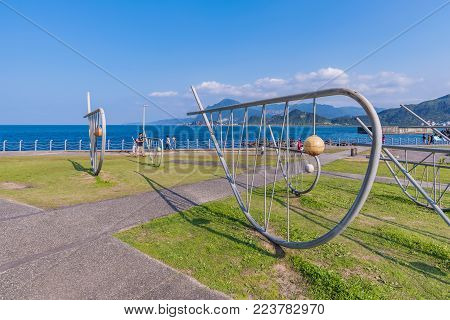 KEELUNG, TAIWAN - APRIL 04: Famous landmark in Badouzi seaside park where people come with to enjoy the seaside area on a sunny day on April 04, 2017 in Keelung