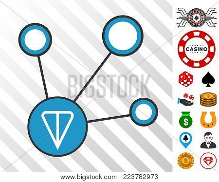 Ton Node Connections icon with bonus gambling pictures. Vector illustration style is flat iconic symbols. Designed for gambling gui.