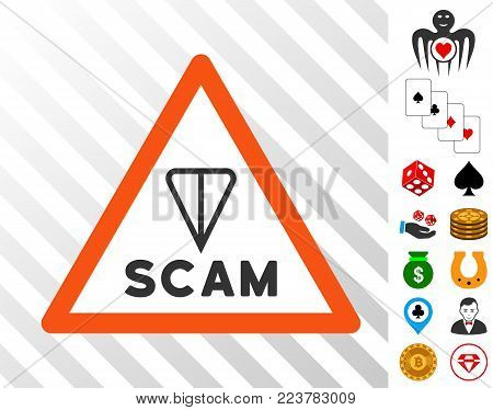 Ton Scam Warning icon with bonus gambling pictures. Vector illustration style is flat iconic symbols. Designed for gambling websites.