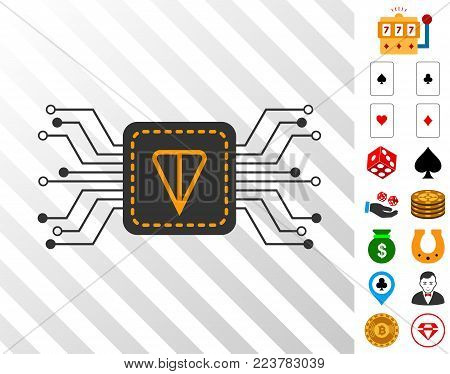 Ton Wallet Circuit icon with bonus gambling design elements. Vector illustration style is flat iconic symbols. Designed for gamble software.