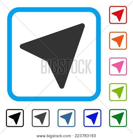Freelance Paper Plane icon. Flat gray iconic symbol inside a blue rounded squared frame. Black, gray, green, blue, red, pink color additional versions of freelance paper plane vector.