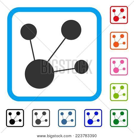 Node Connections icon. Flat grey pictogram symbol in a blue rounded rectangle. Black, gray, green, blue, red, pink color variants of node connections vector. Designed for web and app UI.