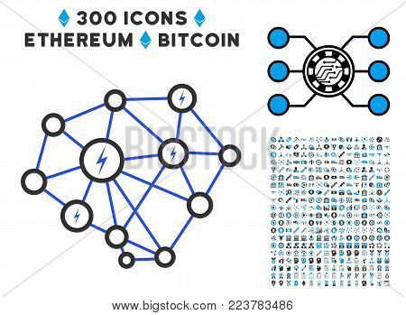Lightning Network pictograph with 3 hundred additional blockchain pictographs. Vector illustration style is flat iconic symbols designed for crypto-currency software.