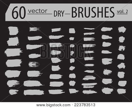 Brushes. Set of dry ink paint. Grunge textured artistic strokes, isolated on white background. Stripe paintbrush collection. Vector brush line design elements. Hand drawn creative artistic brushes