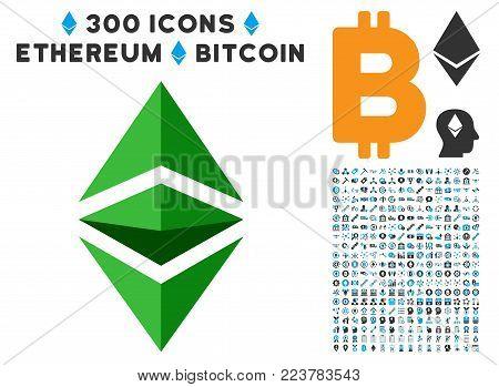 Ethereum Classic pictograph with 300 bonus blockchain images. Vector illustration style is flat iconic symbols designed for blockchain websites.