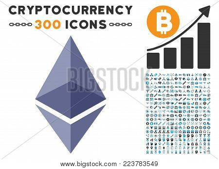 Ethereum Crystal icon with 3 hundred additional blockchain graphic icons. Vector illustration style is flat iconic symbols designed for blockchain software.