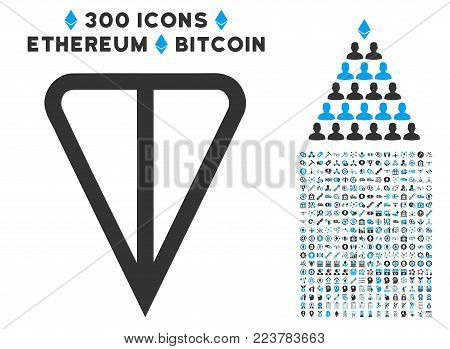 Ton Currency icon with 300 additional cryptocurrency design elements. Vector illustration style is flat iconic symbols designed for cryptocurrency mining software.