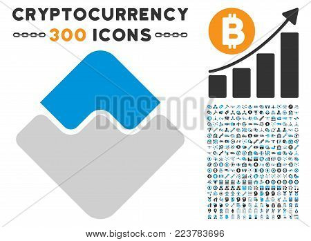 Waves Currency icon with 300 bonus blockchain clip art. Vector illustration style is flat iconic symbols designed for blockchain apps.