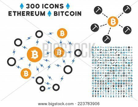 Bitcoin Lightning Network icon with 300 bonus cryptocurrency icons. Vector illustration style is flat iconic symbols designed for cryptocurrency trading websites.