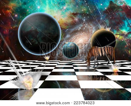 Surrealism. Planetary Armageddon. Massive meteorite - asteroid shower destroy planets. Striped horse on chessboard. 3D rendering