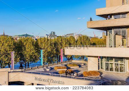 LONDON, UNITED KINGDOM - NOVEMBER 07: The Royal National Theatre building in southbank which is famous for its performing arts on November 07, 2017 in London