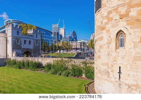 LONDON, UNITED KINGDOM - NOVEMBER 06: This is the Tower of London architecture a historic landmark in central London on November 06, 2017 in London