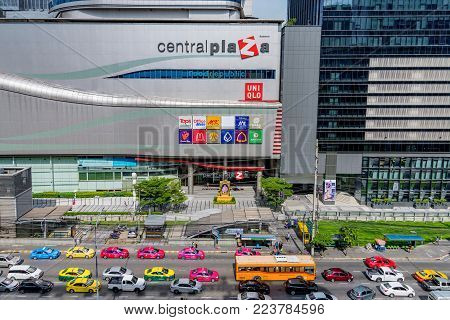 BANGKOK, THAILAND - AUGUST 12: This is a view of Central Plaza Grand Rama 9 a famous shopping center located in the downtown area on August 12, 2017 in Bangkok