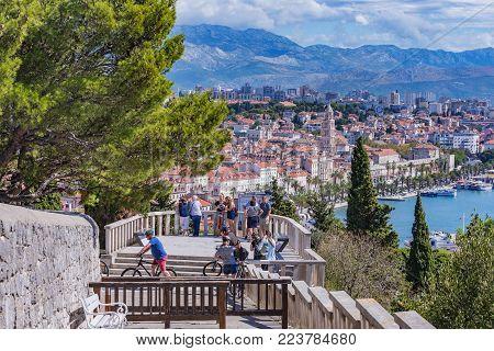 SPLIT, CROATIA - SEPTEMBER 17: Scenic view of Split taken from the famous Marjan hill on September 17, 2016 in Split