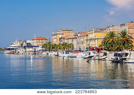 ZADAR, CROATIA - SEPTEMBER 14: View of the Zadar waterfront architecture and harbor area on September 14 in Zadar