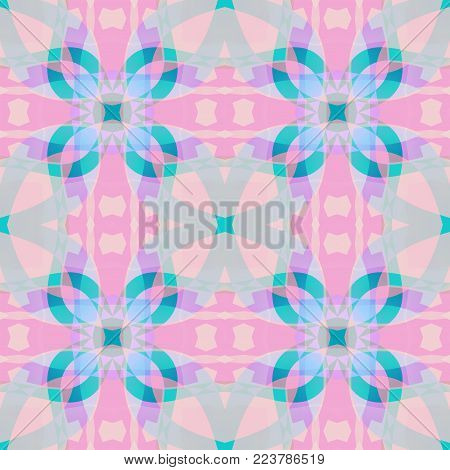 Cute pink blue fractal based abstract texture. Detailed background illustration. Square seamless tile. Home decor fabric design sample. Textile print pattern. Tileable motif for pillows, cushions