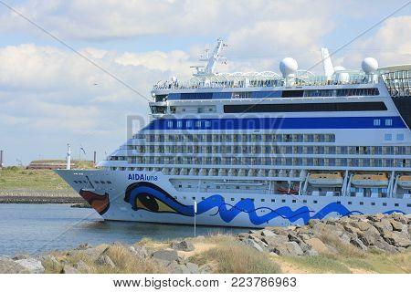 IJmuiden, the Netherlands -April 29th, 2017:   Aida Luna docked at Felison Cruise Terminal IJmuiden