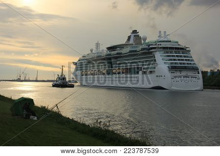 Velsen, the Netherlands, May 1st 2017: Royal Caribbean Serenade of the Seas on North Sea Canal from Amsterdam towards the Ijmuiden sea lock
