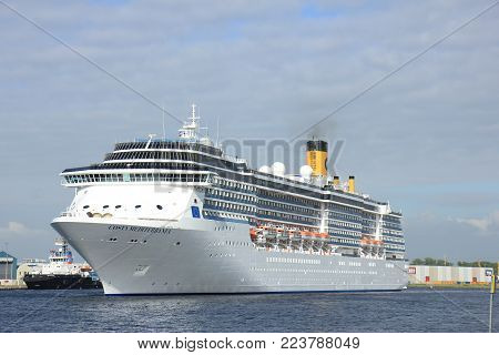 Velsen, The Netherlands - May, 30th 2017: Costa Mediterranea on North Sea Channel towards North Sea