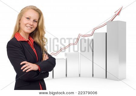Confident Business Woman - 3D Financial Graph