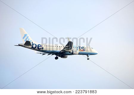 Amsterdam the Netherlands - January 14th 2018: G-FBJI Flybe Embraer ERJ-175 approaching Schiphol Amsterdam Airport Polderbaan runway