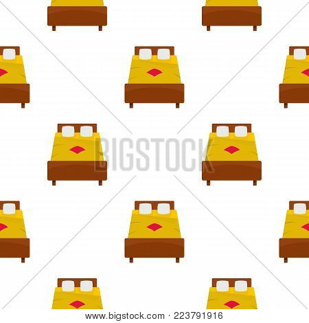 Bed with yellow blanket pattern seamless for any design vector illustration