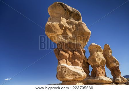 Sandstone hoodoos at Devil's Garden located in the Grand Staircase - Escalante National Park near Escalante Utah USA