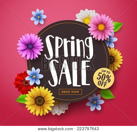 Spring sale vector banner design with sale text, colorful daisy and sunflower elements in red floral background for spring seasonal discount promotion. Vector illustration.