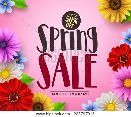 Spring sale vector banner design with text and colorful flowers like daisy and sunflower in pink floral background for spring season discount promotion. Vector illustration.