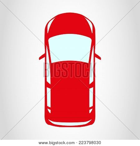 Car Icon. Red Hatchback Vehicle, Top View. Vector Illustration.